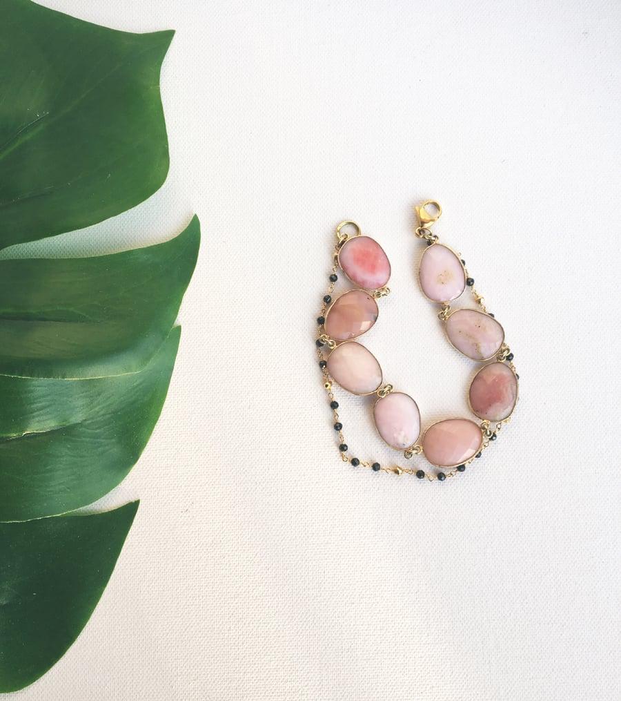 Image of RÖSE KUSH • Pink Opal & Black Spinel Anklet
