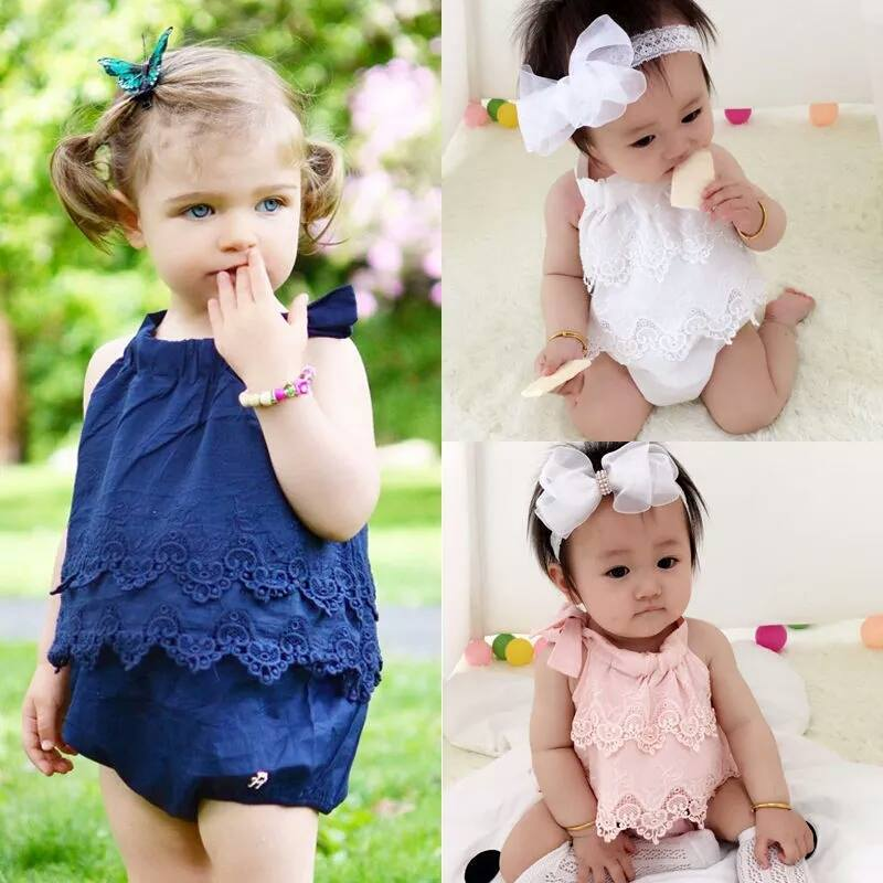 Image of Tiered Lace Tie Bubble Romper