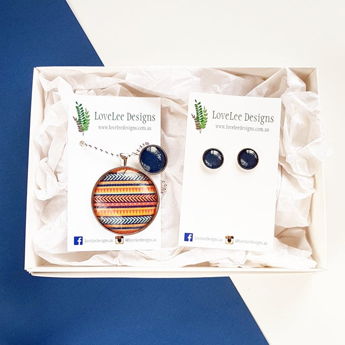 Image of Gift Set - Tribal stripes with navy