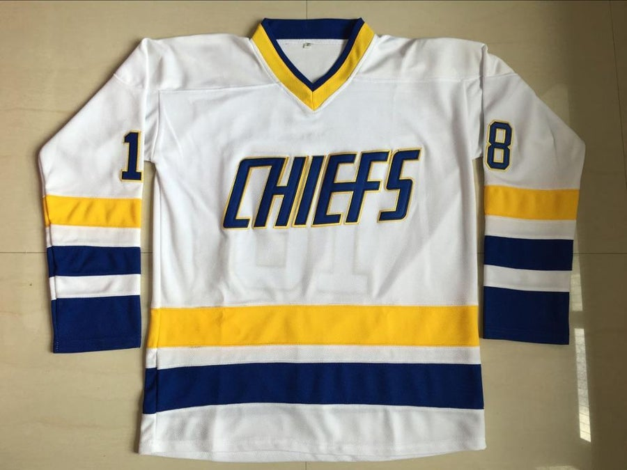 Image of Hockey Jersey Movie Slap Shot Jeff Hanson 18Charlestown Chiefs Hockey Jersey White Vintage