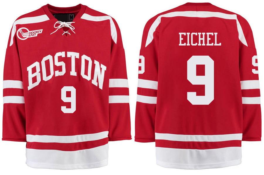 Image of Boston University #9 Jack Eichel Stitched Hockey Jersey