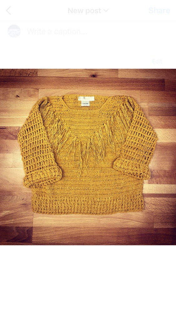 Image of Crochet Jumper - Mustard - Emerald - Blue Rainbow