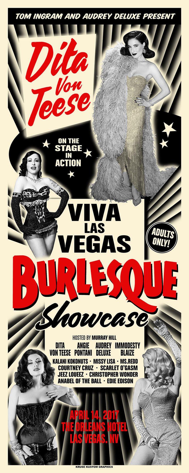 Image of Viva Las Vegas 20 Burlesque Showcase SIlkscreen Poster