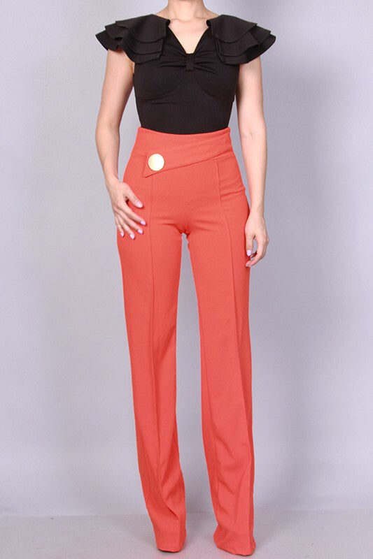 Image of Orange Side Button Pants
