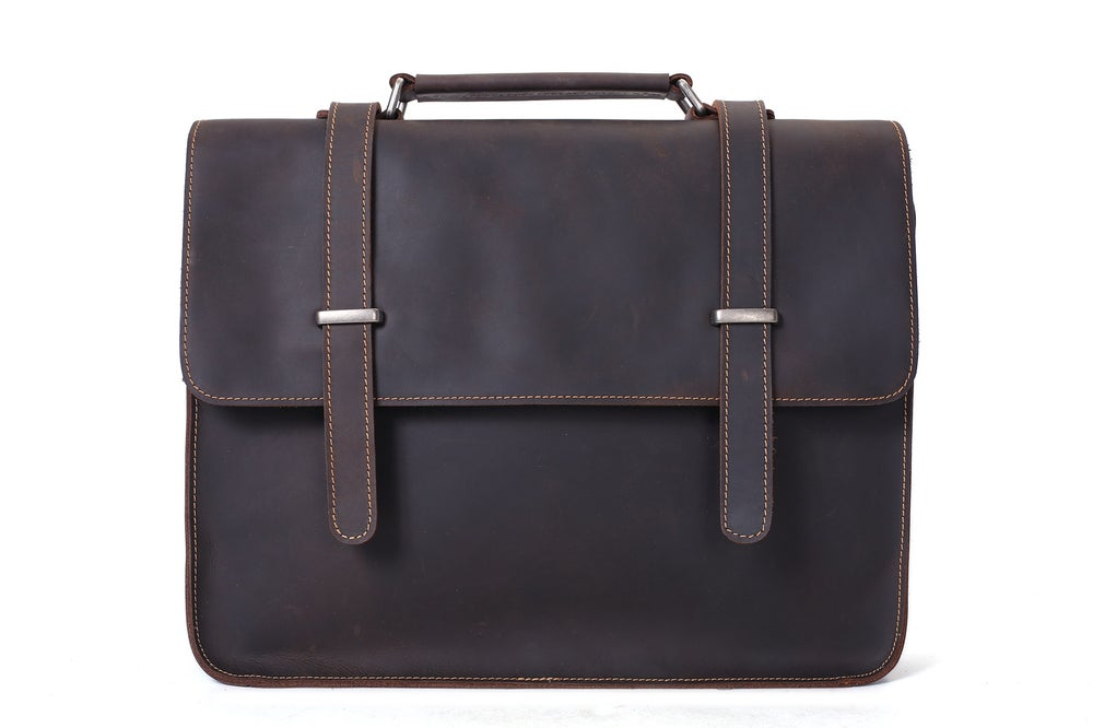 Image of Vintage Crazy Horse Leather Briefcase Men Messenger Bag Laptop Bag 6148