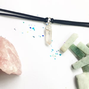 Image of Athena Choker - Clear Quartz + Faux Suede BACK SOON