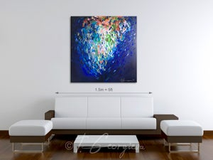 Image of 'Indigo heart' - 100x100cm