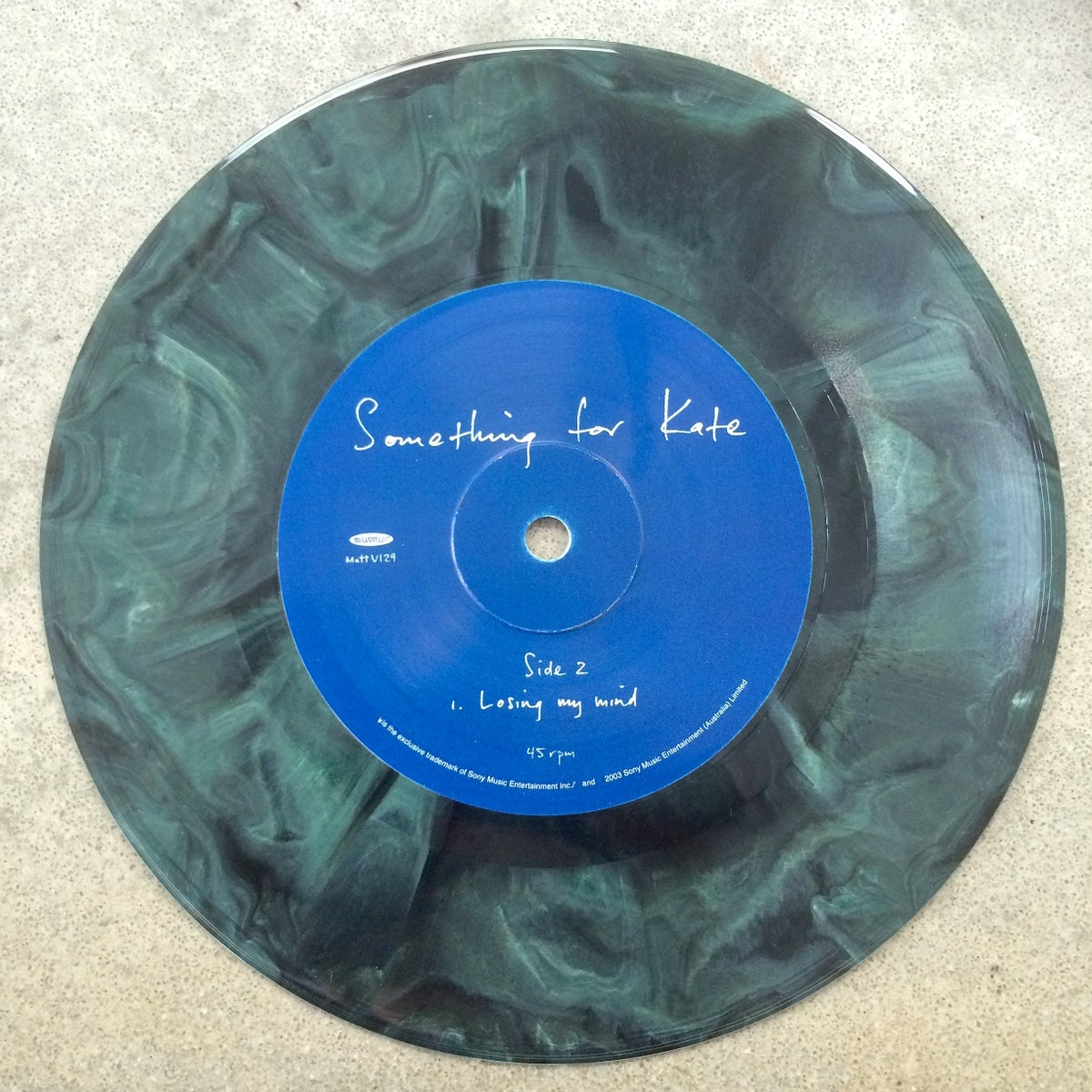 Image of Something for Kate - 'Deja vu' MARBLEIZED colored 7 inch vinyl single - Extremely rare