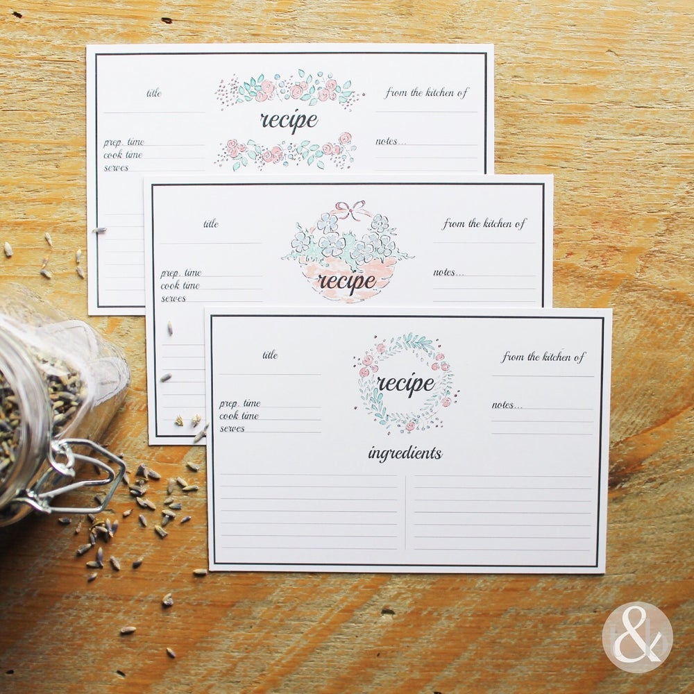 Image of Floral Recipe Cards
