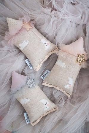 Image of PREORDER - Teeny Tiny cushion - Moon & Stars in silver