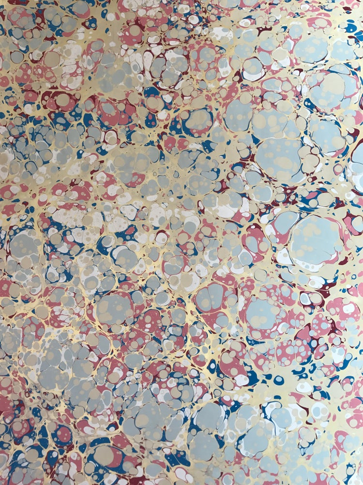 Image of Blue & Pink Spot with Metallic gold on fawn base paper