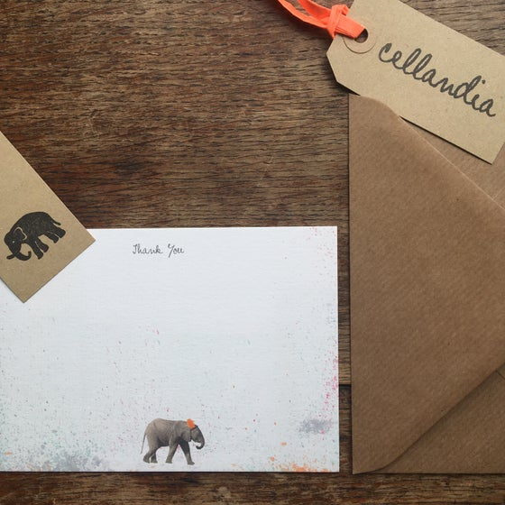 Image of Set of 8 x Safari Party Elephant Thank You Notecards