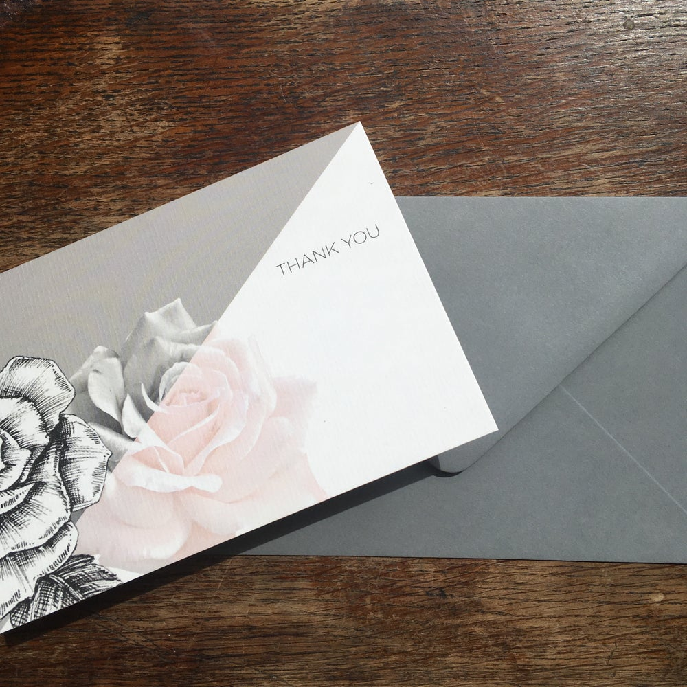Image of Set of 6 x Rose Botanical Thank you Card