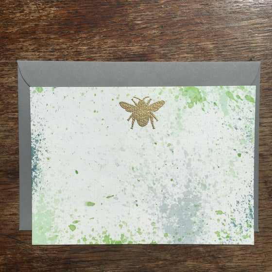 Image of Bee Gold Embossed Notecard