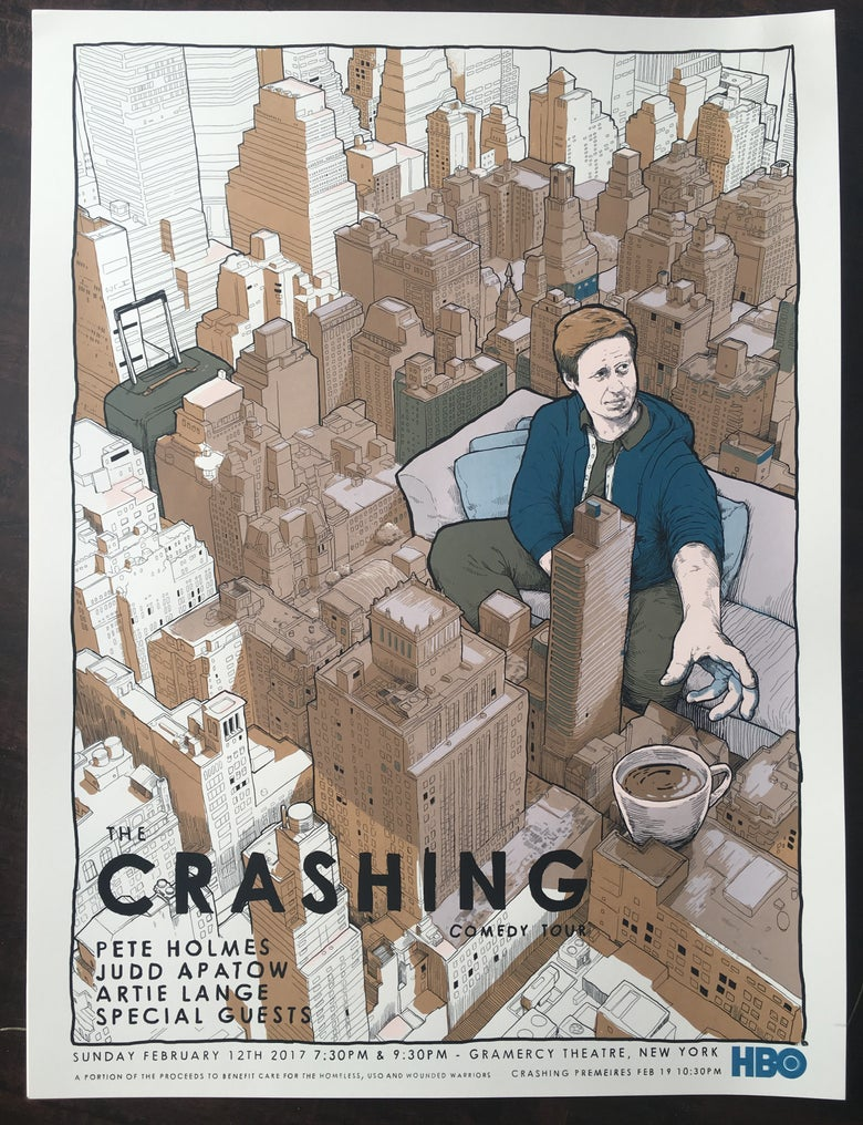 Image of Pete Holmes CRASHING posters (NYC date)