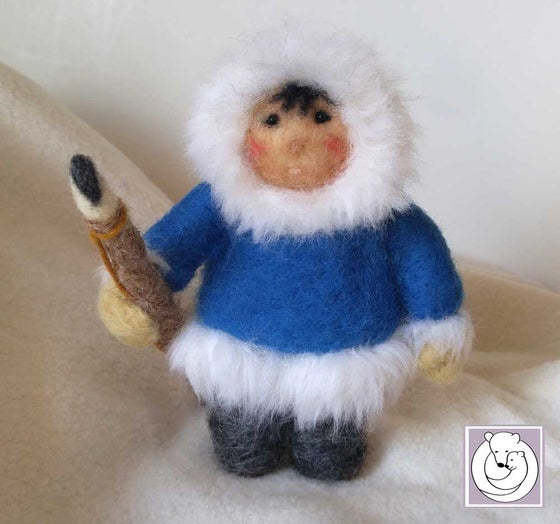 Image of Inuit with harpoon , Needle Felted