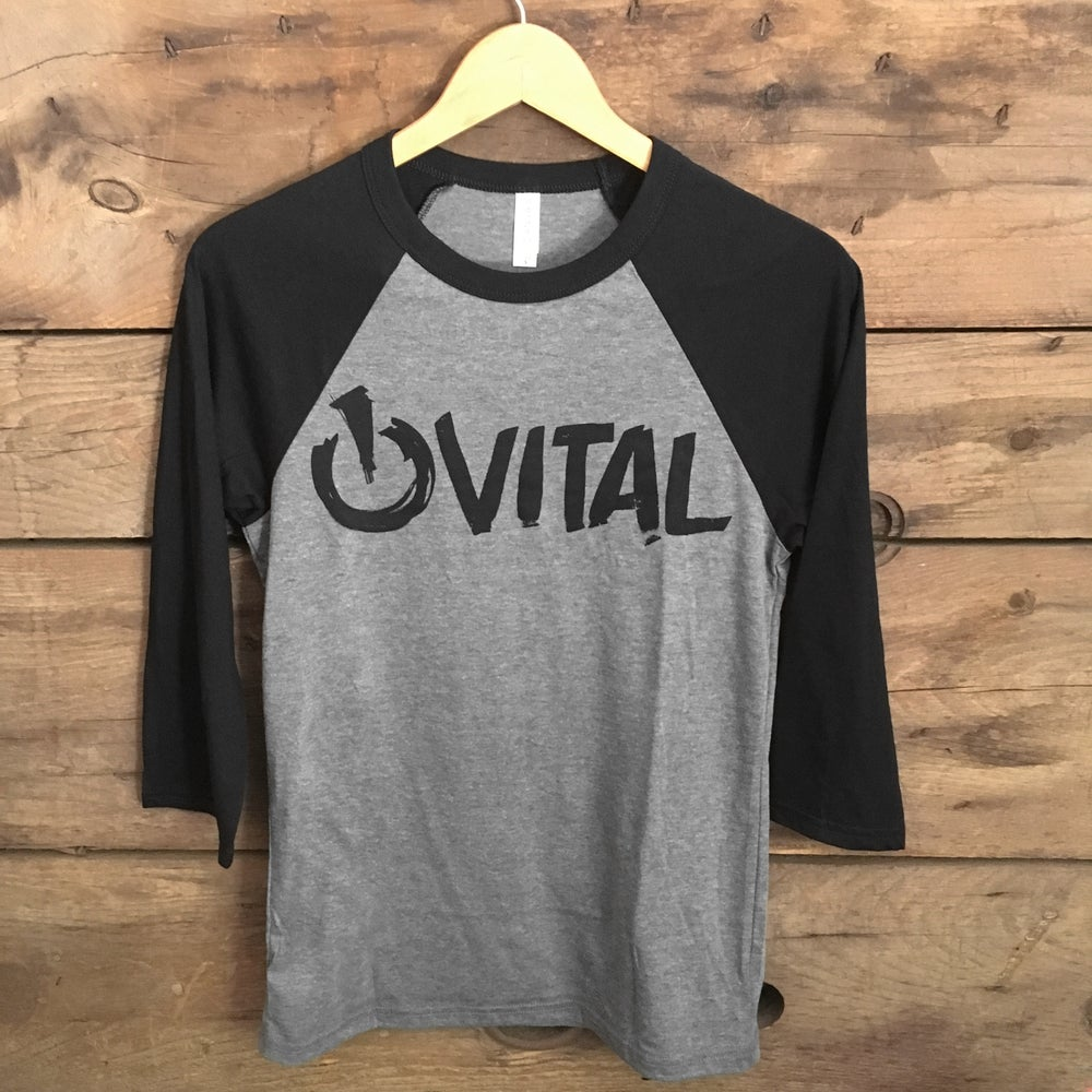 Image of Vital Brush 3/4 T-Shirt, Deep Heather with Black Sleeve