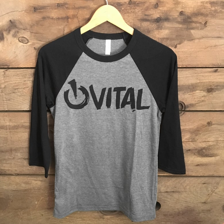 Image of Vital Brush 3/4 T-Shirt, Deep Heather with Black Sleeve
