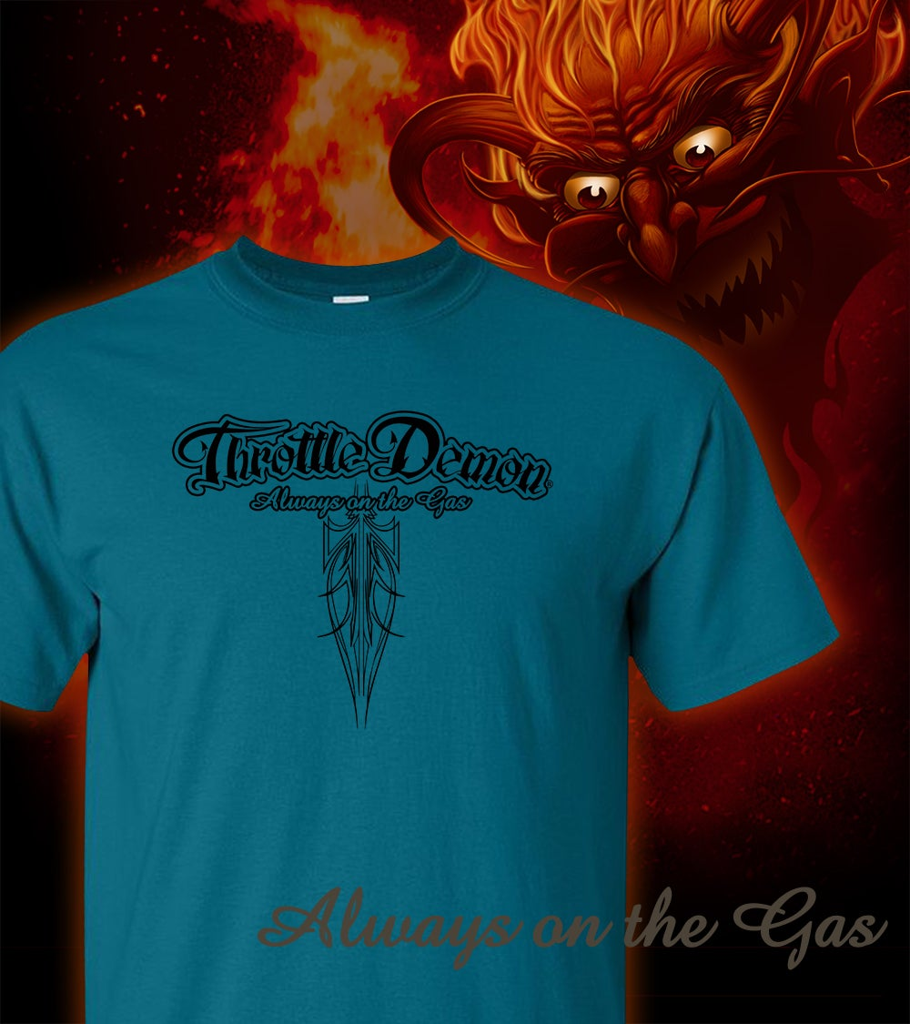 Image of Throttle Demon logo Galapagos Blue