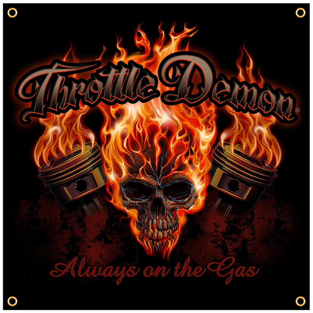 Image of Throttle Demon Skull garage banner