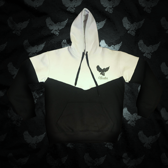 Image of Black/White Cut & Sew Hoodie - V2