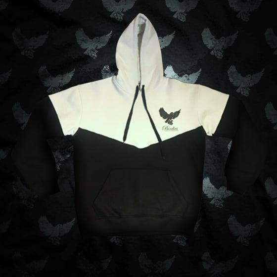 Image of Black/White Cut & Sew Hoodie - V2