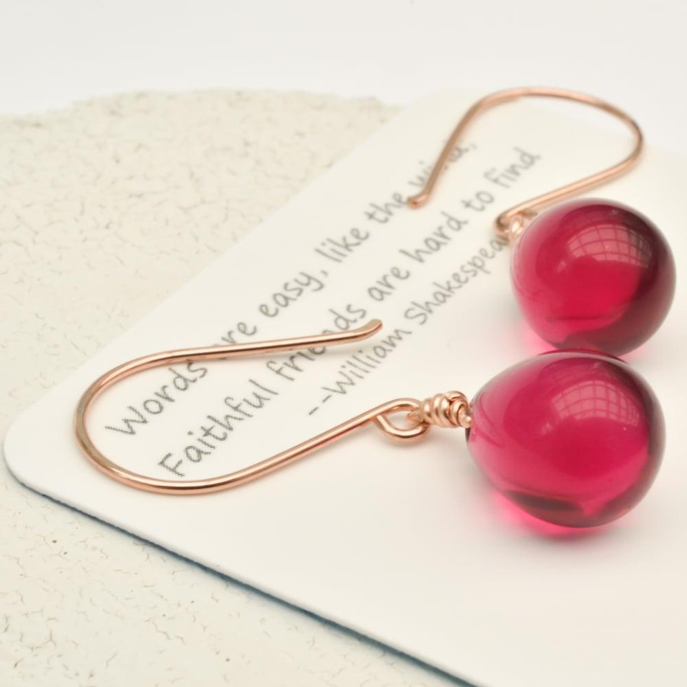 Image of Berry glass drop earrings