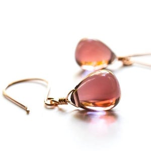 Image of Mauve glass drop earrings