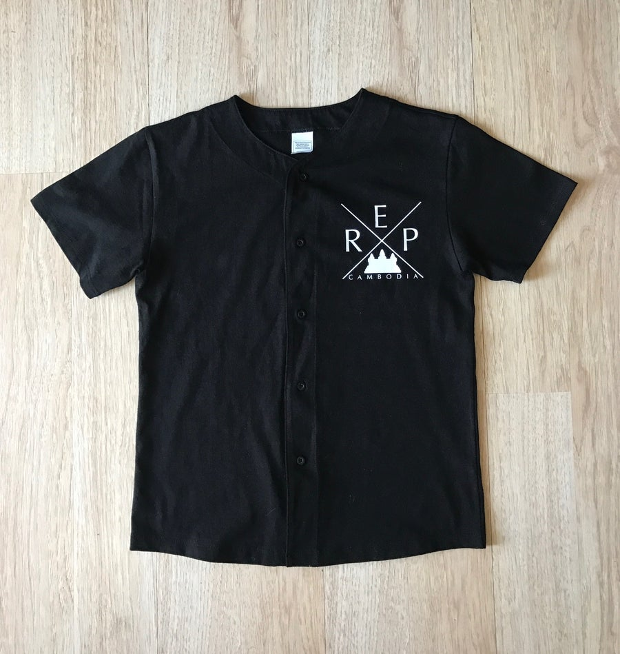 Image of Kids Black X Baseball Cotton Jersey