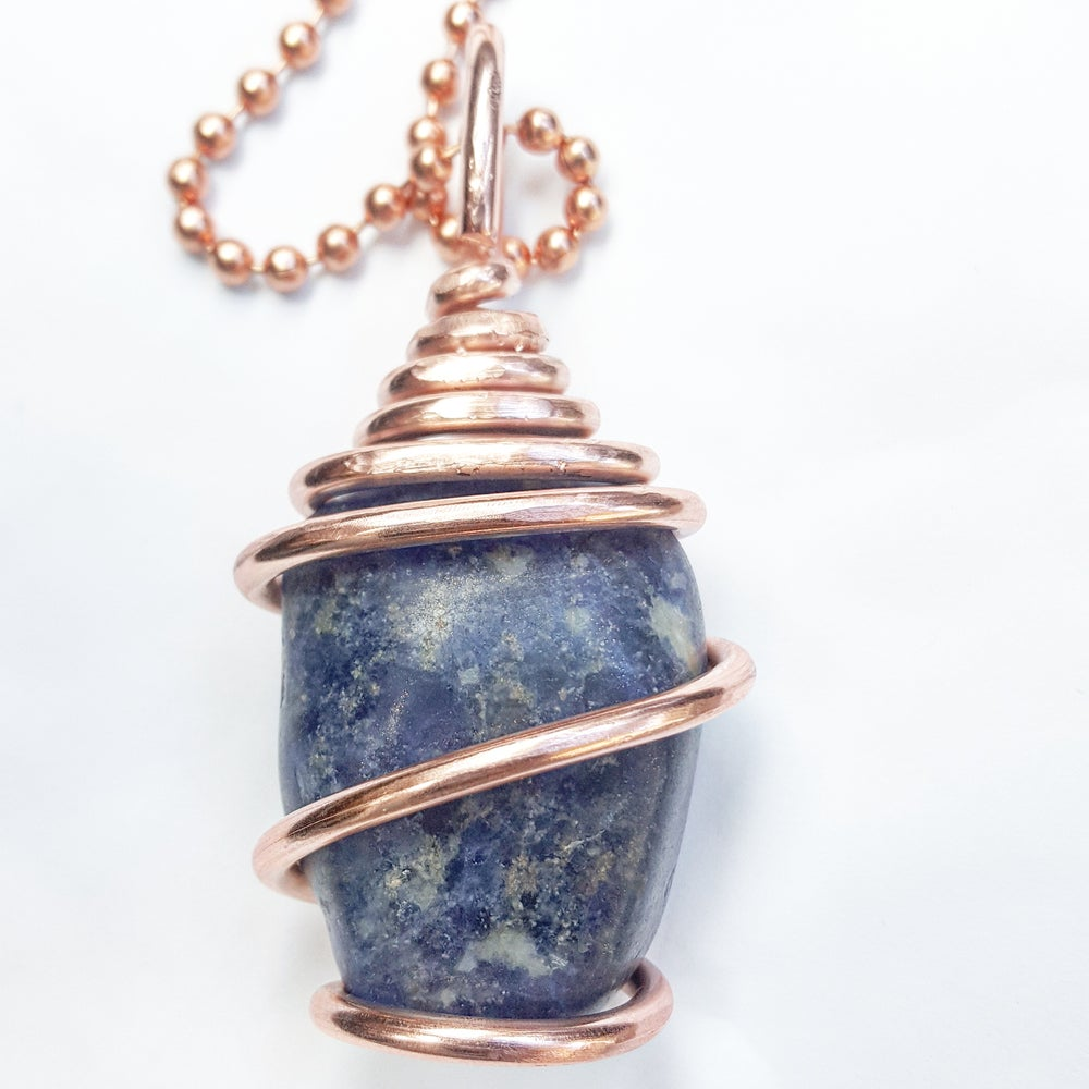 Image of Copper Wrapped Tumbled Sodalite