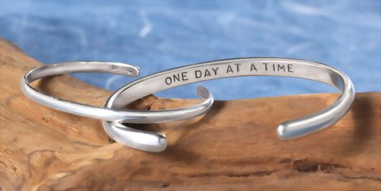 "Image of ""One Day at a Time""  Sterling Bracelet"