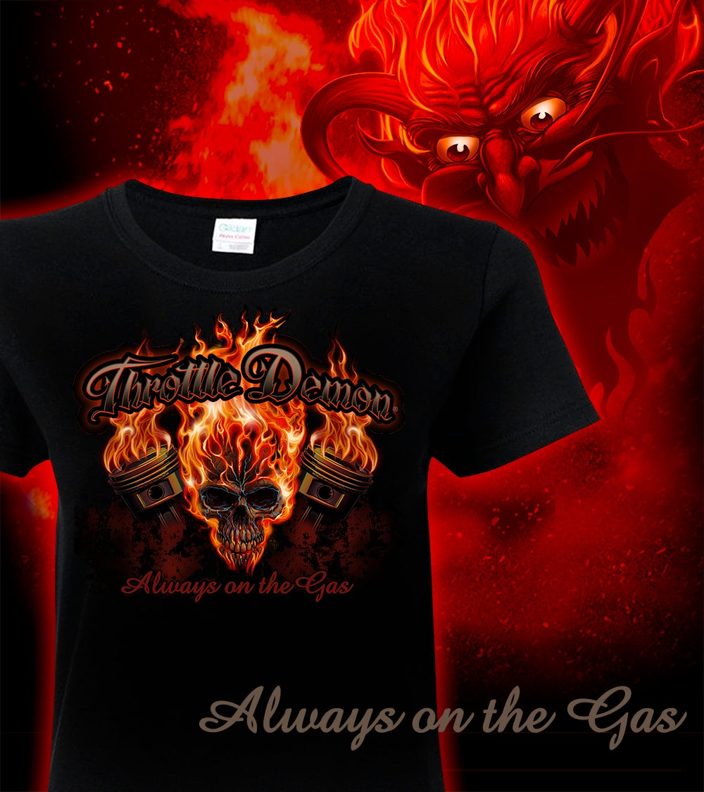 Image of Throttle Demon Skull ladies tee