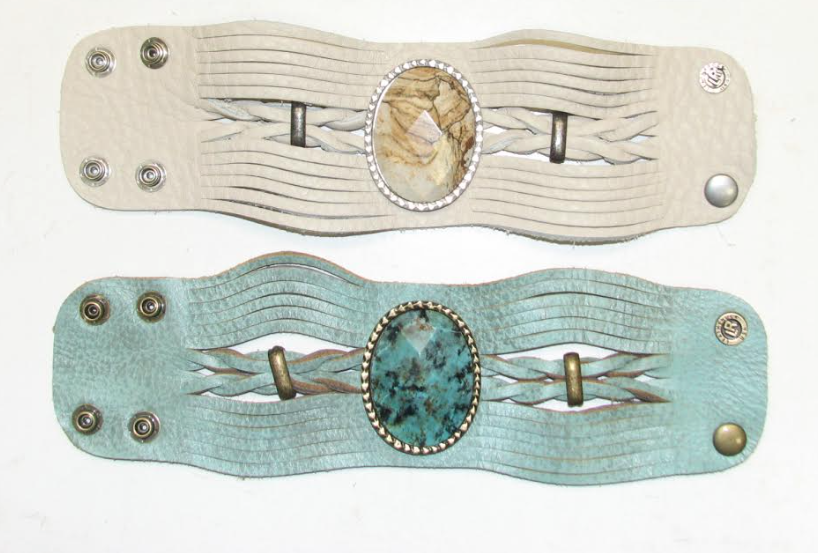 Image of Turquoise or Creme Braided leather cuff bracelet with gemstone