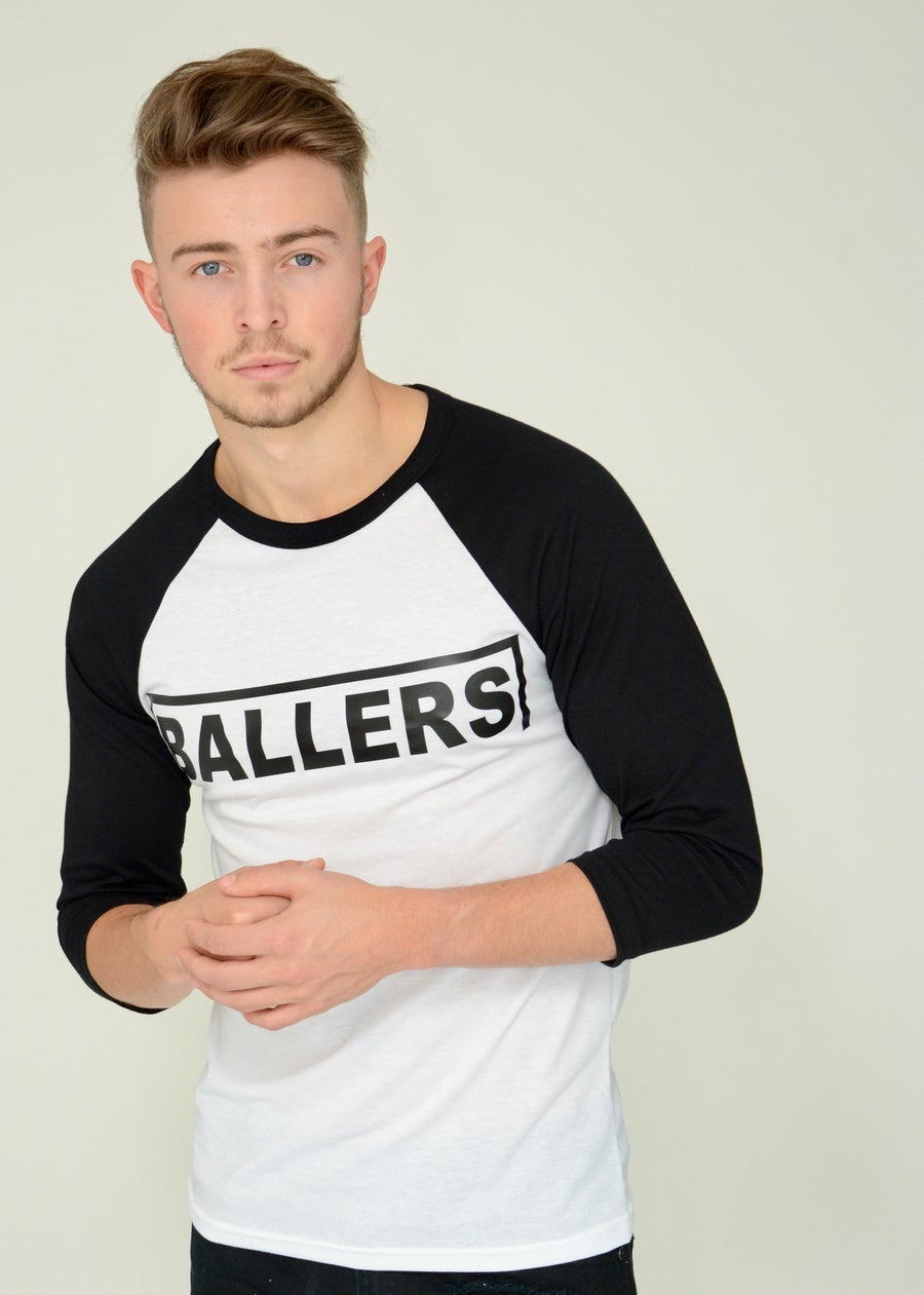 Image of Ballers White/black Raglan T Shirt