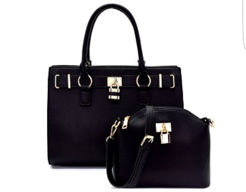 Image of Black 2pc padlock handbags