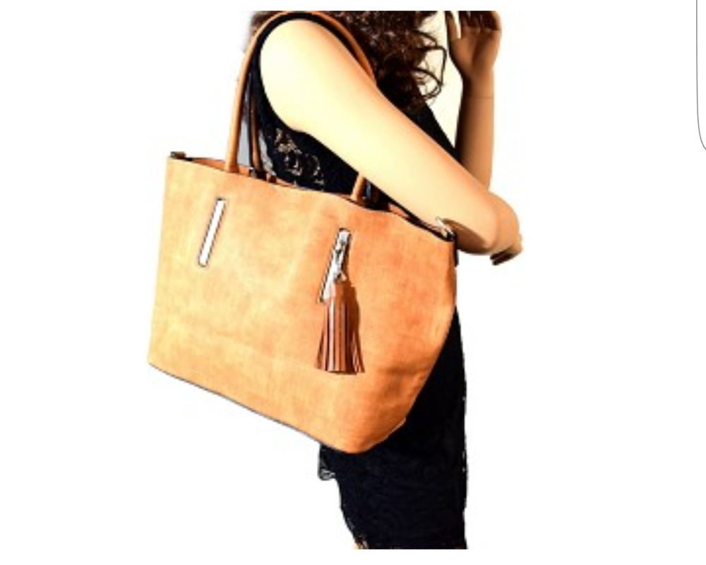 Image of 3 piece textured tote bag