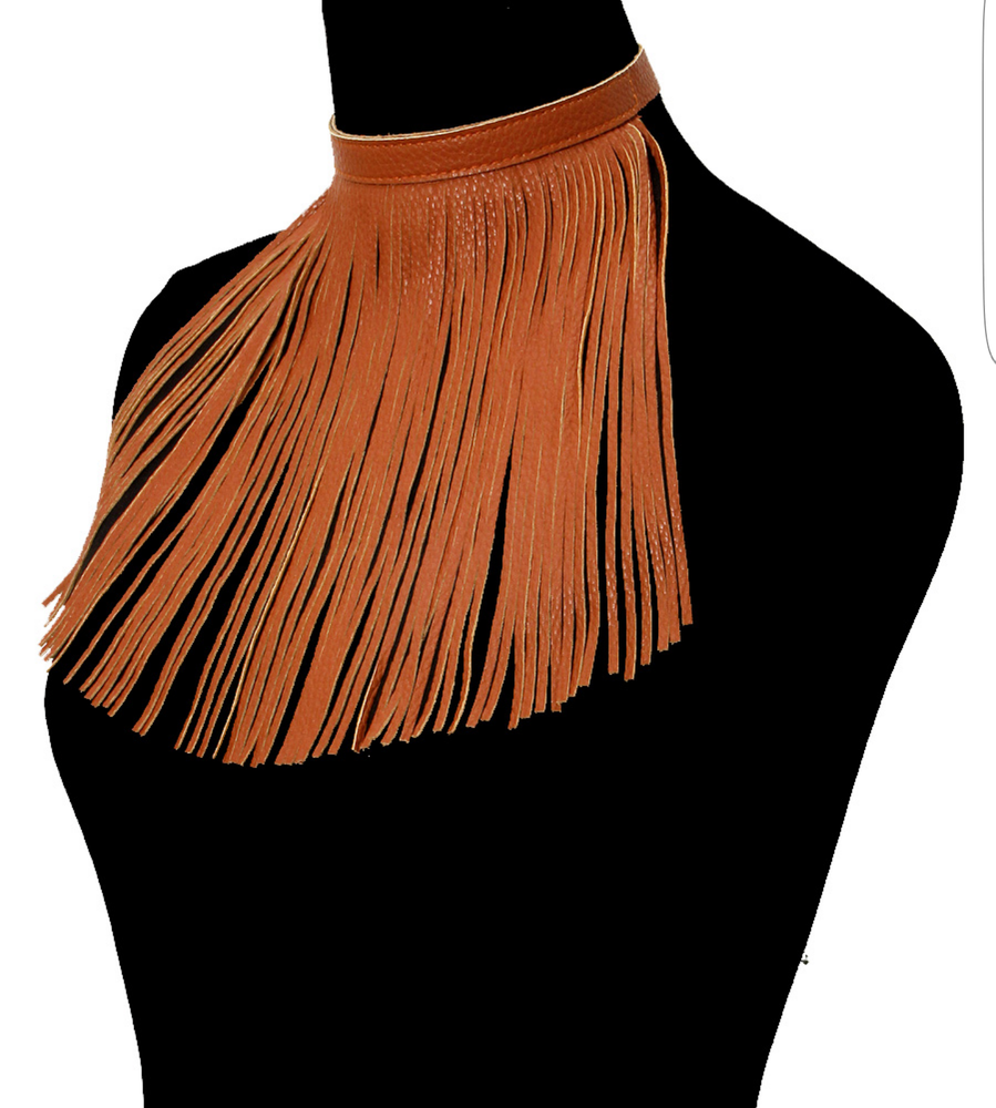 Image of Brown Faux-leather Chocker