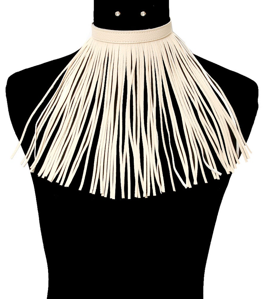 Image of Cream Faux-leather chocker