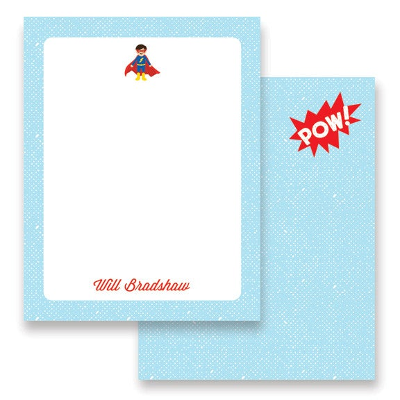 Image of Super Hero Boy and Girl Stationery + Envelopes