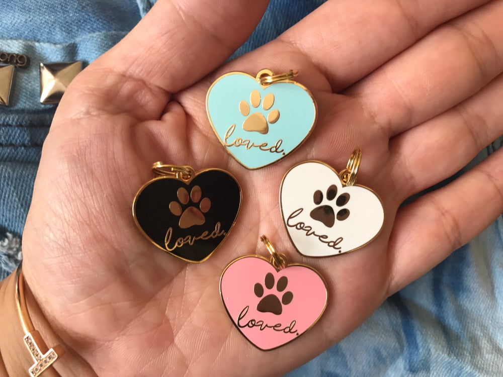 "Image of ""Loved"" Heart Pet Tag/Charm"
