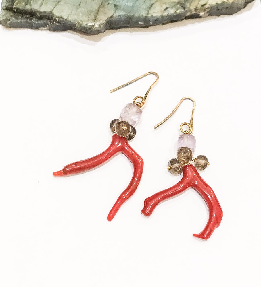 Image of Coral, Amethyst and Smoky Quartz Earrings