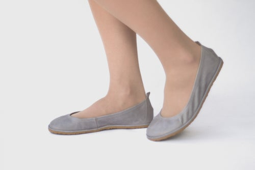 Image of Veg-Tanned Eko ballet flats in Grey