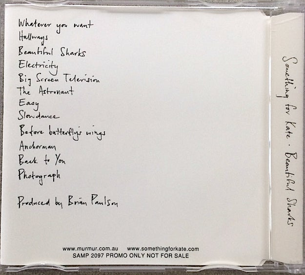Image of Something for Kate - 'Beautiful Sharks' Advance CD