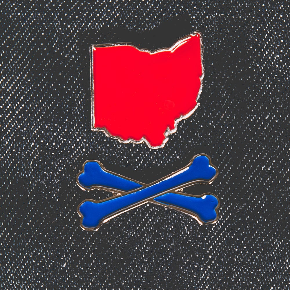 Image of Ohio and Crossbones Enamel Pin Red and Blue with Silver Baseball Colors