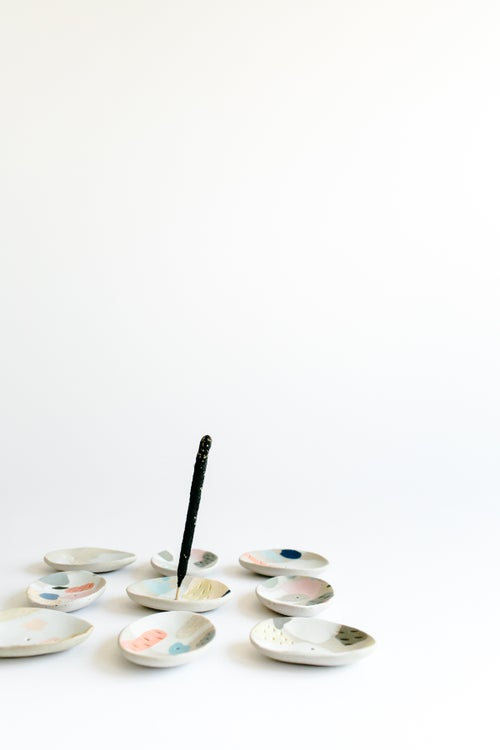 Image of Bright Rainbow Inlay Incense Holders