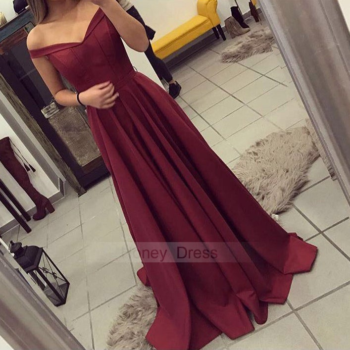 Image of Burgundy Off-The-Shoulder Strapless Satin A Line Long Prom Gown With Back Zipper