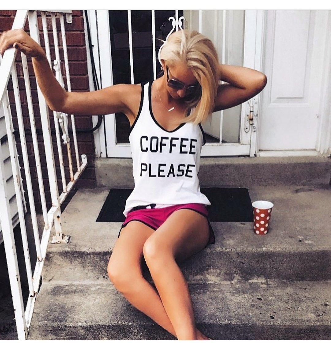 Image of COFFEE PLEASE racerback tank