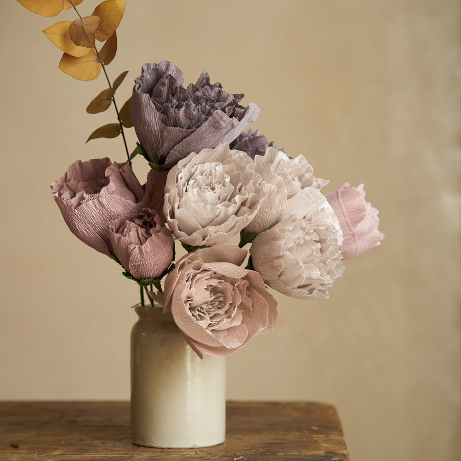 Image of Peony Bouquet - Mauve, Light Grey, Dark Grey
