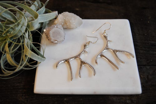 Image of Antler earrings [ Silver and gold options. ]