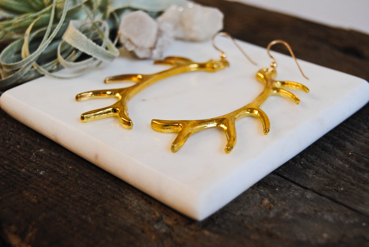 Image of Long antler earrings [ Silver and gold options. ]